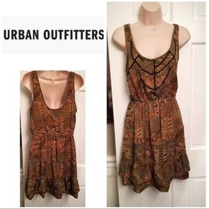 Urban outfitters ecote brown print bead top dress